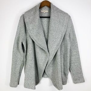 LOFT Gray Chunky Open-Front Cardigan With Pockets